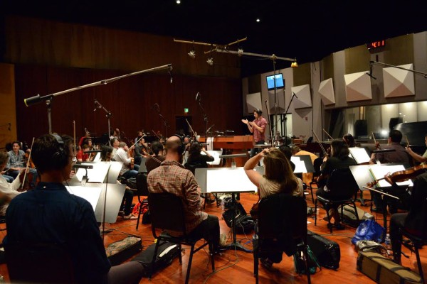 Philip conducting THE FINEST HOURS at Warner Brothers